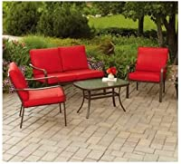 4-piece Patio Conversation Set. Sofa Table, Love Seat and 2 Sofa Chairs with Red Cushions Seat Four. Amazing. Use Outdoor Furniture for Lounging on Your Patio, Deck or in the Backyard Gazebo. Durable Weatherproof Seating Is Decorative and Comfortable. by