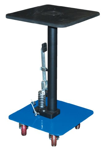 "Vestil Ht-03-1616A Steel Hydraulic Post Table, 300 Lbs Capacity, 16"" Length X 16"" Width Platform, 31"" - 49"" Height Range"