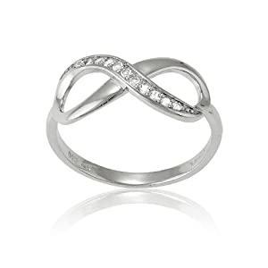 7fa09550d Sterling Silver White Topaz Infinity Figure 8 Ring