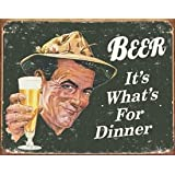 Desperate Enterprises Beer It's What's for Dinner Collectible Metal Sign, Model# 1424 , 16x12