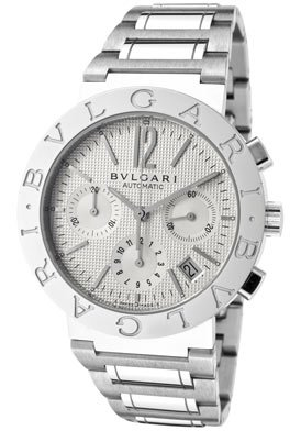 Bvlgari Bvlgari Off White Chronograph Dial Stainless Steel Automatic Mens Watch BB38WSSDCH-N