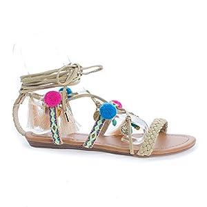 Bianca23 NudePu Tribal Leg Wrap Tassel & Charms Flat Sandals -7.5