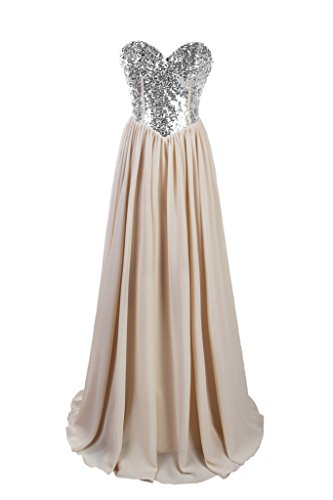 e001dadef12 Dresstore Women s Chiffon Beaded Prom Dress Sweetheart Bridesmaid Evening  Gowns Champagne US 12
