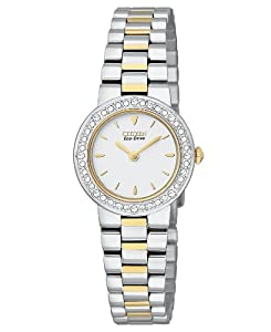Citizen Women's EW9824-53A Crystal Eco-Drive Two-Tone Mother-Of-Pearl Dial Watch