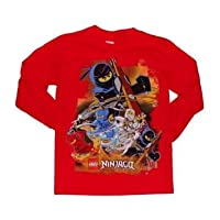 Lego Ninjago 4 Ninjas Boys Long Sleeve Shirt (XL 14/16, Red)
