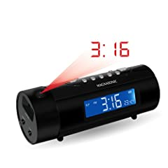 Magnasonic MAG-MM178K AM/FM Projection Clock Radio with Dual Alarm, Auto Time Set/Restore, Motion Activated Snooze, Temperature Display and Battery Backup
