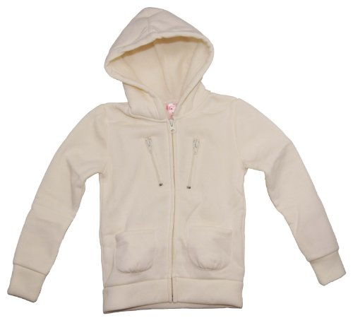 Dream Star Little Girls Cream Sherpa Hooded Jacket S(4) White front-125968