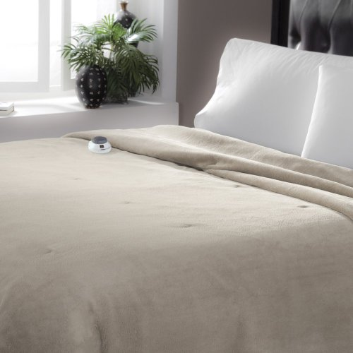 Serta Serta Luxe Plush Electric Warming Blanket, Topaz, Polyester, Queen