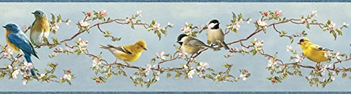 Chesapeake HTM48511B Louise Blue Songbird Portrait Wallpaper Border