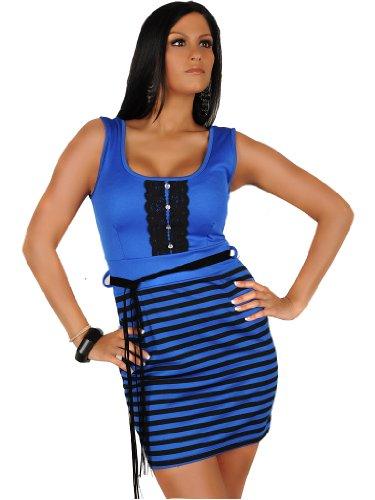 celebrity style blue black pencil stripe bandage strapless shoulder belt dress mini club evening cocktail party office church dress size 10/12