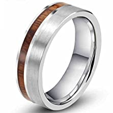 buy Mens Womens 8Mm Tungsten Silver Ring Vintage Wedding Engagement White Band With 100% Koa Wood Flat Top