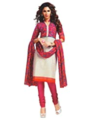 Namaskaar India Pretty Pink & White Printed Salwar Suit Dupatta Material For Women