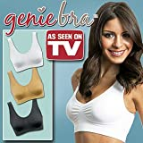 Genie Bra 3-Pack (Medium) – With Removable Pads – White, Black, Nude thumbnail