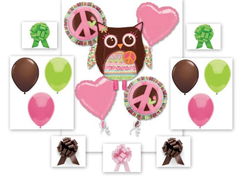 Girl Birthday Owl Balloon Bouquet 16 Piece Complete Party Kit
