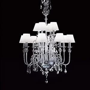 Bugia 12 Light Chandelier Size: 90 cm H x 85 cm Dia, Shade / Dropper Colour: Black Glass with Black Shade :: Special Offers