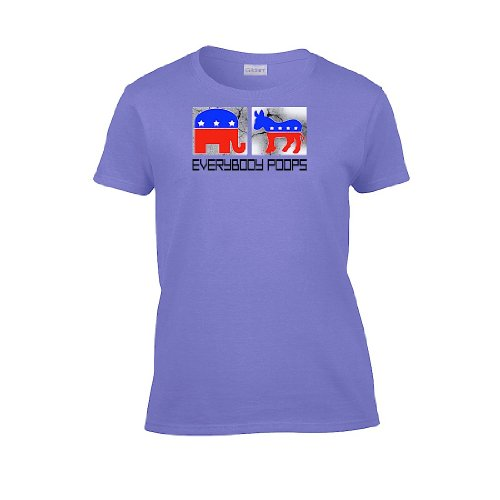 Iamtee Womens Everybody Poops Political T-Shirt-Violet-S