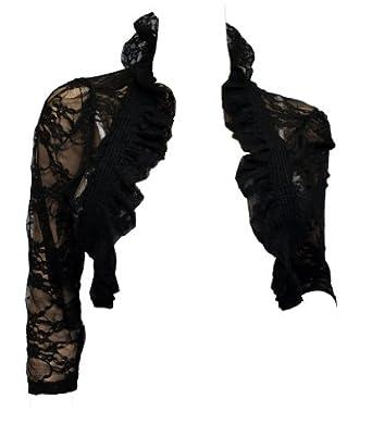 eVogues Plus Size Sheer Lace Bolero Shrug Black at Amazon Women's
