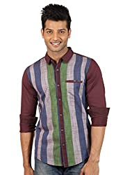 Le Tailor Men's Slim Fit Casual Stripes Shirt ( SLCFS103,Maroon & Green,XL )