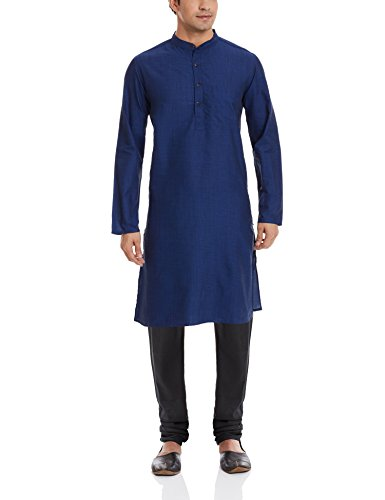 Even Men's Knee-Long Cotton Kurta (LK MMS031 NV01_Navy Blue_40)