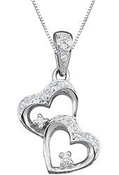 10K Yellow/White Gold 1/16 ct. Diamond Heart Pendant with Chain