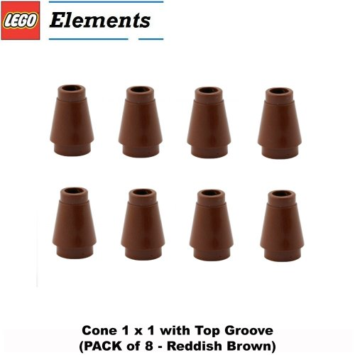 Lego Parts: Cone 1 x 1 with Top Groove (PACK of 8 - Reddish Brown) (Lego Friends Oasis compare prices)