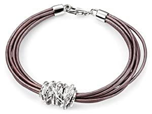 Elements Sterling Silver Ladies' B3939 Multi Leather Bracelet with Silver and Cubic Zirconia Disc Length 19cm