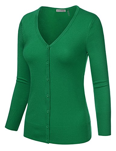 JJ Perfection Women's 3/4 Sleeve V-Neck Button Down Knit Cardigan Sweater KELLYGREEN M