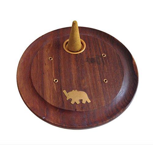 Elefantes y detalles de latón de incienso plato soporte para incienso Cono de madera de fresno con equipo Wicca Hippie Boho - de madera