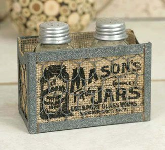 Mason Jar Salt and Pepper Caddy with Burlap (Burlap Jars compare prices)