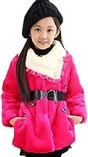 Unko Big Girls Warm Flowers Fur Collar Coats Outerwear With Belt