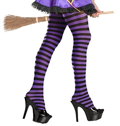 Purple & Black Striped Tights
