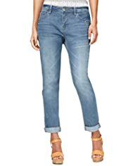 Indigo Collection Studded Denim Boyfriend Jeans