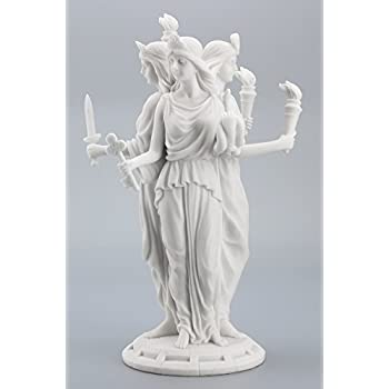 Large Greek Goddess Hecate Triple Goddess Statue Figurine (White)
