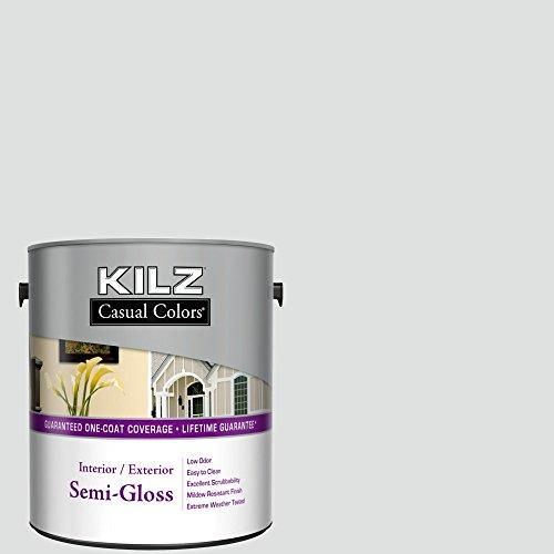 KILZ Casual Colors Interior Latex House Paint, Semi-Gloss, White Barn, 1-gallon (White Aluminum Paint compare prices)
