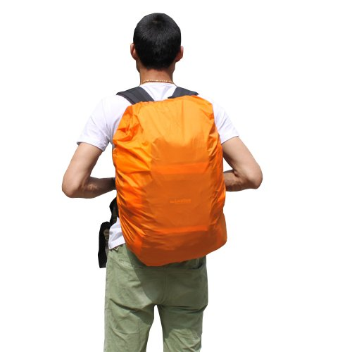 Nylon Backpack Rain Cover For Hiking Camping Traveling, Large, Orange