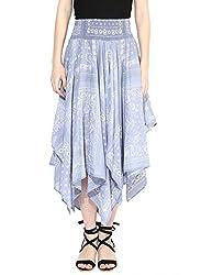 Grain Regular fit Blue Pleated Cotton Skirt For Women