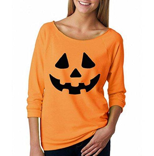[Halloween Sweatshirt Mallcat Women Pumpkin Print Pullover Blouse (S, Orange)] (Vintage Paisley Print Costumes)