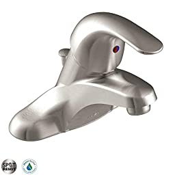 Moen CAL84502SRN Single Handle Centerset Bathroom Faucet from the Adler Collection, Spot Resist Brushed Nickel