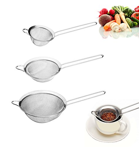 Zicome Set of 3,stainless Steel Strainers,silver Sieves,cooking Strainers,fine Mesh Strainers,food Strainers,colanders and Strainers Set,stainless Steel Sieve - Useful in Home & Kitchen for Small Grains & Seeds - Eat Healthy and Make It Easy to Sift Dry and Wet Ingredients - Best Quality Guaranteed - By All Times Finest