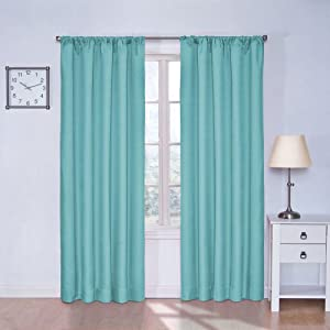 Thermal curtain panel turquoise 84 inch window treatment panels