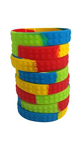 Brick Textured Wristbands for Lego-Loving Kids (Set of 8) - One Size Fits Most - Silicone Bracelets (Ninja Coloring Book Party Favors compare prices)
