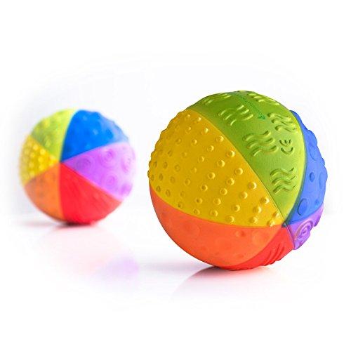 "CaaOcho Baby - Natural Rubber Sensory Ball ""Rainbow"" - BPA, Phthalates, PVC Free, Food-grade paint - 1"