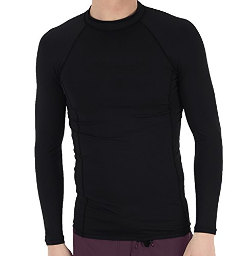 Mens long sleeve snug fitting rash guard swimming shirt for Mens long sleeve uv protection shirt
