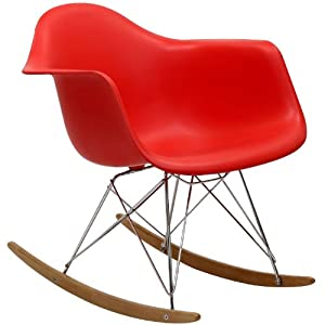 Home Life Retro Modern Rocking Lounge Cradle Chair with Ash-Wood Rockers - Red