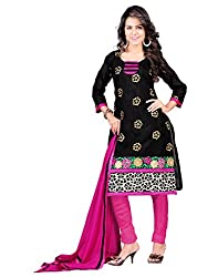 Designer Cotton traditional look Black Embroidery work Unstitched Branded Salwar Suit Dress Material with contrast dupatta for women From Lookslady