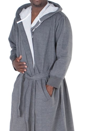 del rossa men 39 s sweatshirt style hooded cotton bathrobe l xl dark heather gray a0311eclxl. Black Bedroom Furniture Sets. Home Design Ideas