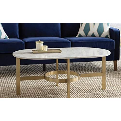 """Design Tree Home Versailles 42"""" Marble Top Coffee Table with Stainless Steel Antique Brass/Gold Base"""