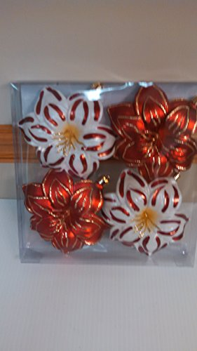Snowberry 4 in. Poinsettia Shatter-Resistant Ornament (4-Piece)