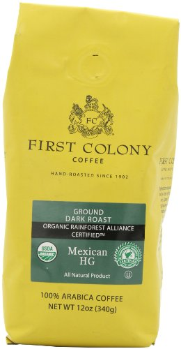 First Colony Organic Ground Coffee, Mexican HG, 12 Ounce