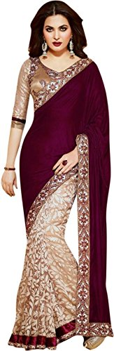 Angel Shoppe Women's Brasso/Velvet Saree